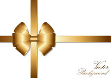 Golden bow ribbon design. Vector Illustration Stock Photo