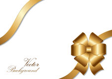 Golden bow ribbon design. Vector Illustration Stock Images