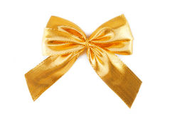 Golden bow ribbon isolated Royalty Free Stock Photography