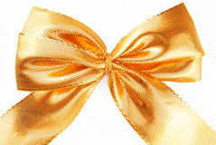 Golden bow ribbon Stock Photos