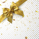 Golden Bow And Ribbon With Sparkling Confetti Glitters. On Checkered Transparent Background. Vector Holiday Illustration. Realistic Isolated Decoration Element Royalty Free Stock Photos