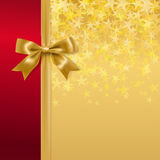 Golden bow and ribbon. On starry holiday background. vector Royalty Free Stock Photography