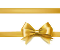 Golden bow ribbon. On white. decorative design element. vector Royalty Free Stock Image