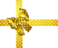 Golden bow and ribbon with white polka dots made from silk Stock Image