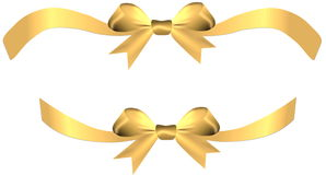 Golden bow with ribbons on the gift or heart Royalty Free Stock Photos