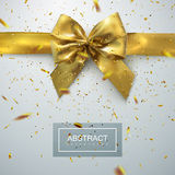 Golden Bow And Ribbons. Golden Bow And Ribbon With Golden Sparkling Confetti Particles. Vector Holiday Illustration. Realistic Decoration Element For Design Royalty Free Stock Photo