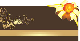 Golden bow with rose on the decorative border Stock Photo