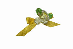 Golden bow with silver flower, suitable for decoration : isolate. D on white background Stock Image