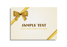 Golden Bow on the White Gift Card Stock Photo