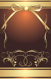 Golden Bow With Decorative Frame. Wrapping Stock Photos