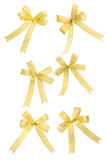 Golden bowknot collection. On the white background royalty free stock photography