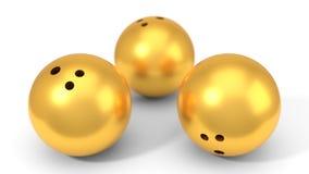 Golden bowling balls. 3d illustration. Golden bowling balls.  on white, 3d illustration Royalty Free Stock Photo