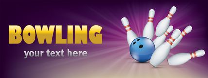 Golden Bowling Pin Deck Purple Banner Blue Ball Strike Pins Royalty Free Stock Photography
