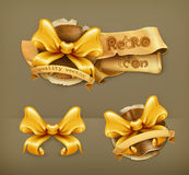 Golden bows, vector icons Royalty Free Stock Images