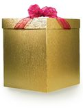Golden box. Golden gift box on white Royalty Free Stock Photography