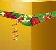 Golden box. With christmas decorations, eps 10 Royalty Free Stock Photography