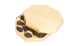 Golden Box of chocolate candies Royalty Free Stock Photo