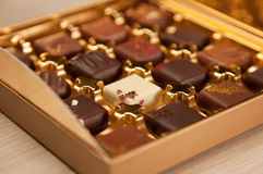 Golden Box of Fine Belgian Chocolates in Different Colors and Kinds Royalty Free Stock Photography