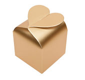 Golden box in form of heart Stock Images