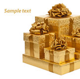 Golden box isolated on a white background Royalty Free Stock Photos