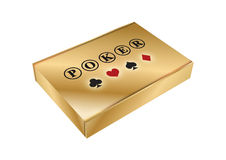 Golden box with poker element Stock Image