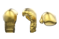 Golden boxing gloves isolated on white Stock Photography