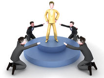 Golden boy. A group of men admiring a golden executive stock illustration