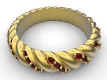 Golden bracelet. 3D render illustration of a golden bracelet  on a white background with shadows Stock Photos