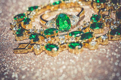 Golden Bracelet With Emerald Filtered Stock Photo