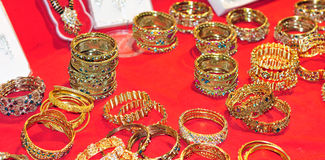 Golden bracelets Stock Photo