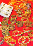 Golden bracelets Stock Image
