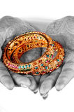 Golden bracelets Royalty Free Stock Images