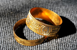 Golden bracelets Royalty Free Stock Photography