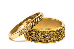 Golden Bracelets Isolated Royalty Free Stock Photography