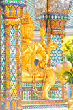 Golden Brahma. At the shrine of the four-faced Brahma (Phra Phrom) on Ratchaprasong Road, Bangkok, Thailand stock photo
