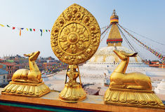 Golden brahma symbol in front of Bodhnath stupa Royalty Free Stock Images