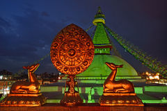 Free Golden Brahma Symbol In Front Of Boudha Nath (Bodhnath) Stupa In Stock Photo - 30033590