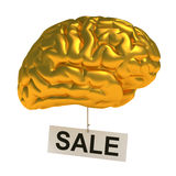 Golden brain. 3D concept golden brain. Isolated on white Royalty Free Stock Photography