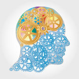 Golden brain. Vector human profile with golden gears brain Royalty Free Stock Photos