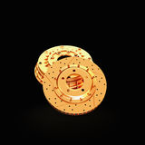 Golden brake disk isolated on black background. Stock Photos