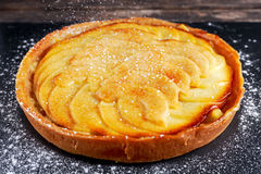Golden Bramley apple tart with cinnamon glaze Stock Photography