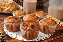 Golden bran muffins Royalty Free Stock Images