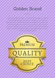 Golden Brand Premium Best Choice Exclusive Quality. Label award emblem isolated on purple background. Vector gold seal guarantee certificate poster Stock Image