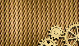 Golden or brass background with few gears Stock Photos