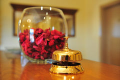 Golden brass hotel bell Stock Photo