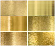 Golden or brass metal texture or background set Royalty Free Stock Photo