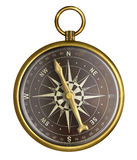 Golden or brass old nautical compass Stock Image