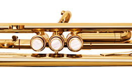 Golden brass trumpet valves top view isolated on white Stock Photography