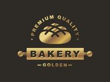 Golden bread logo - vector illustration. Bakery emblem on black background Royalty Free Stock Images