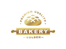 Golden bread logo - vector illustration. Bakery emblem on white background Royalty Free Stock Photo